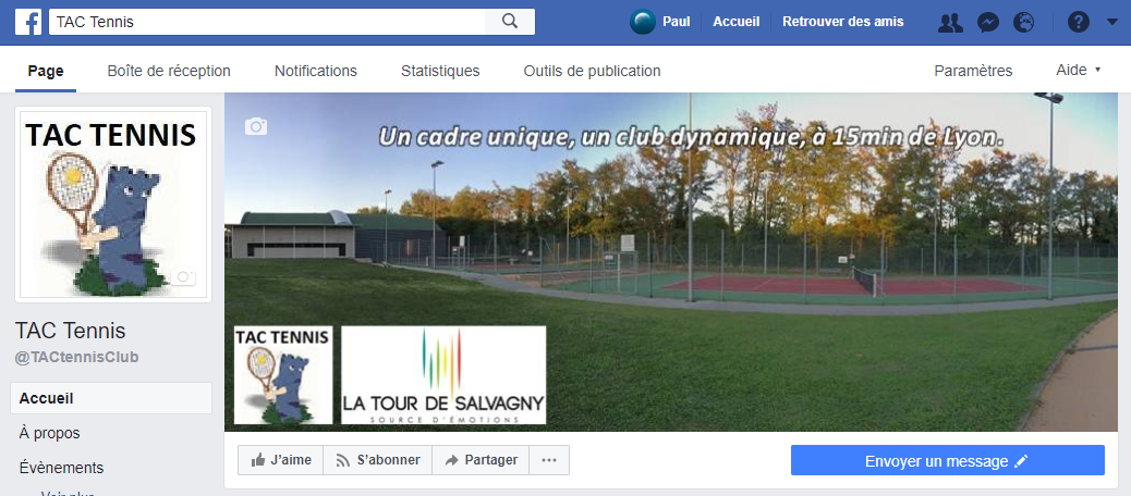 Page Facebook TAC Tennis