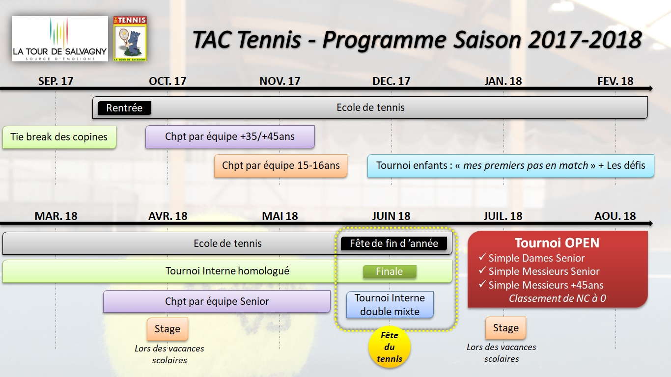 Tac tennis planning saison 2017 2018